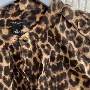 Animal Print Button Down Ann Taylor Top Size 10